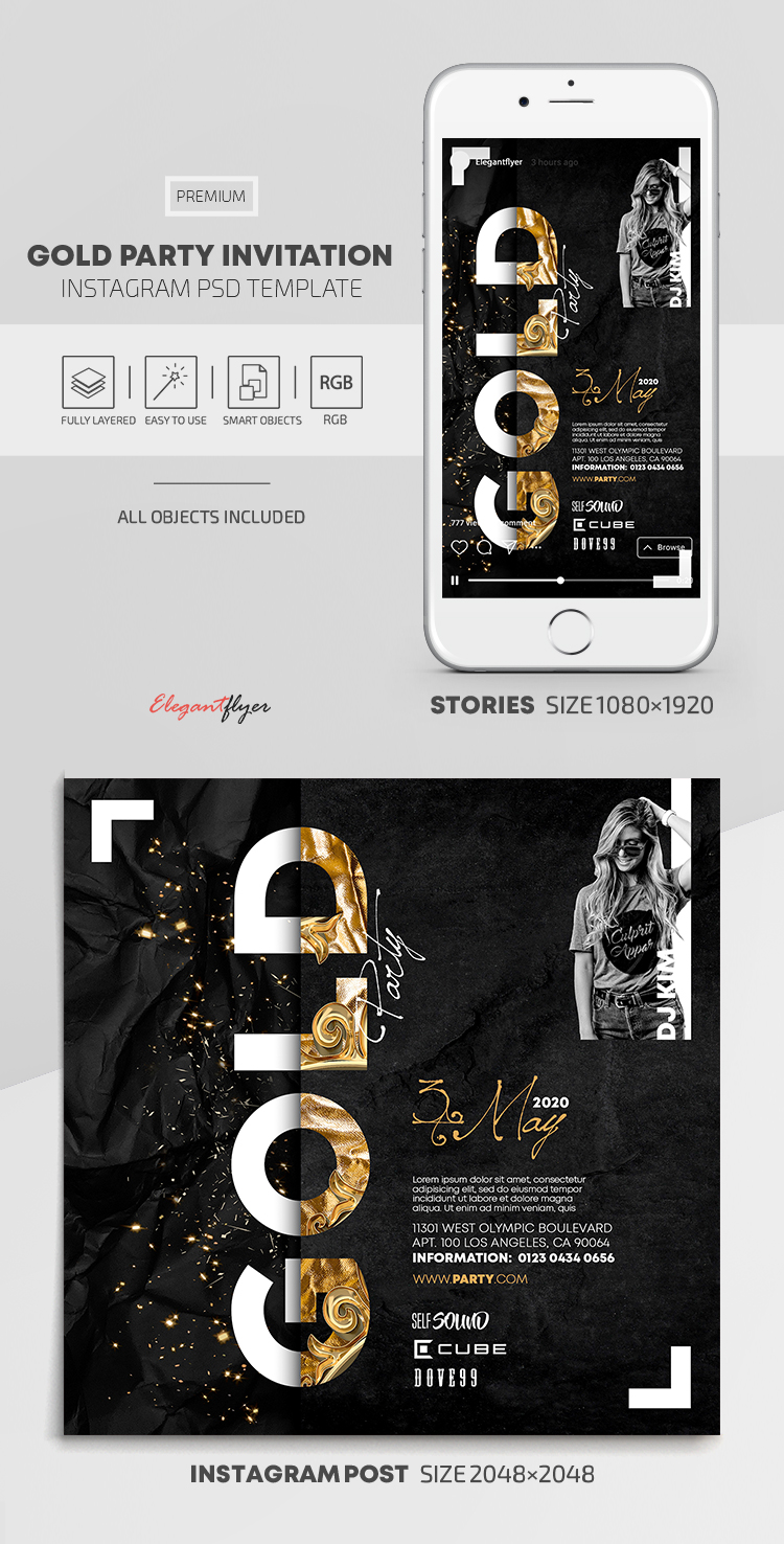 Gold Party Invitation – Instagram Stories Template in PSD + Post Templates