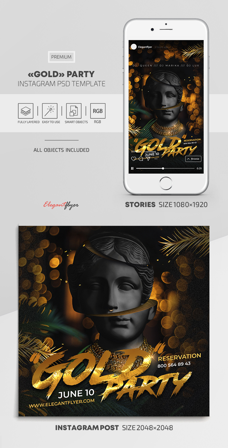 Gold Party – Instagram Stories Template in PSD + Post Templates