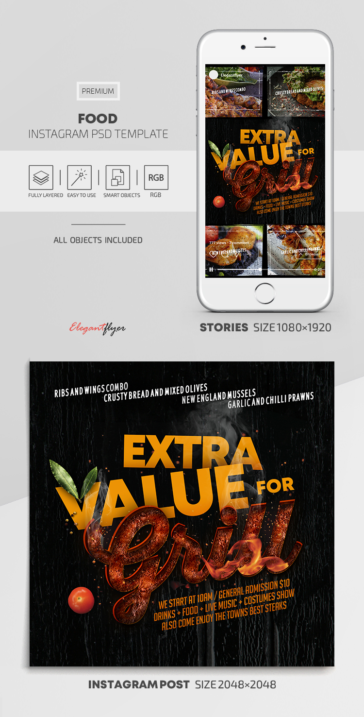 Food – Instagram Stories Template in PSD + Post Templates