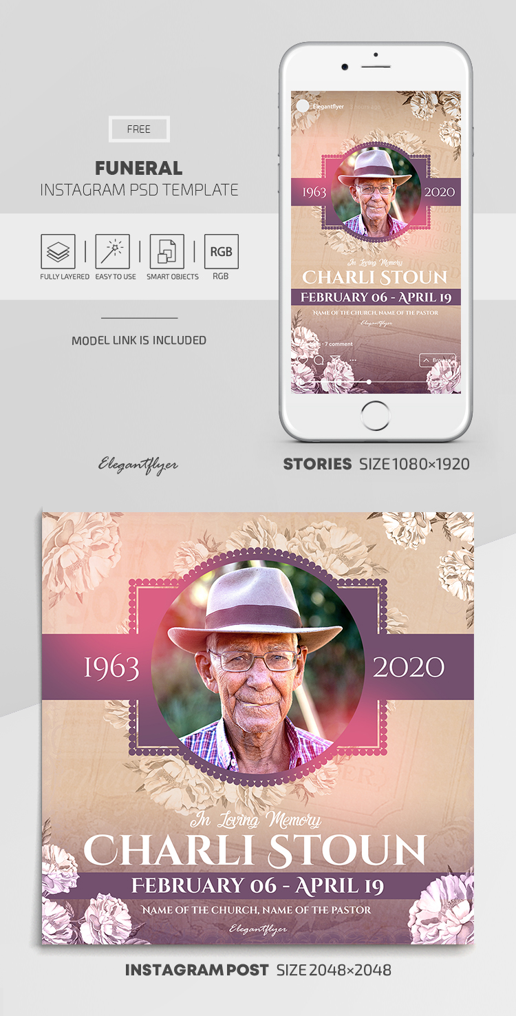 Funeral – Free Instagram Stories Template in PSD + Post Templates