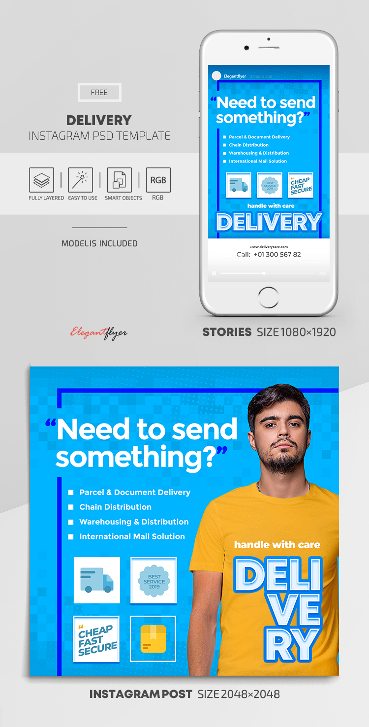 Delivery – Free Instagram Stories Template in PSD + Post Templates