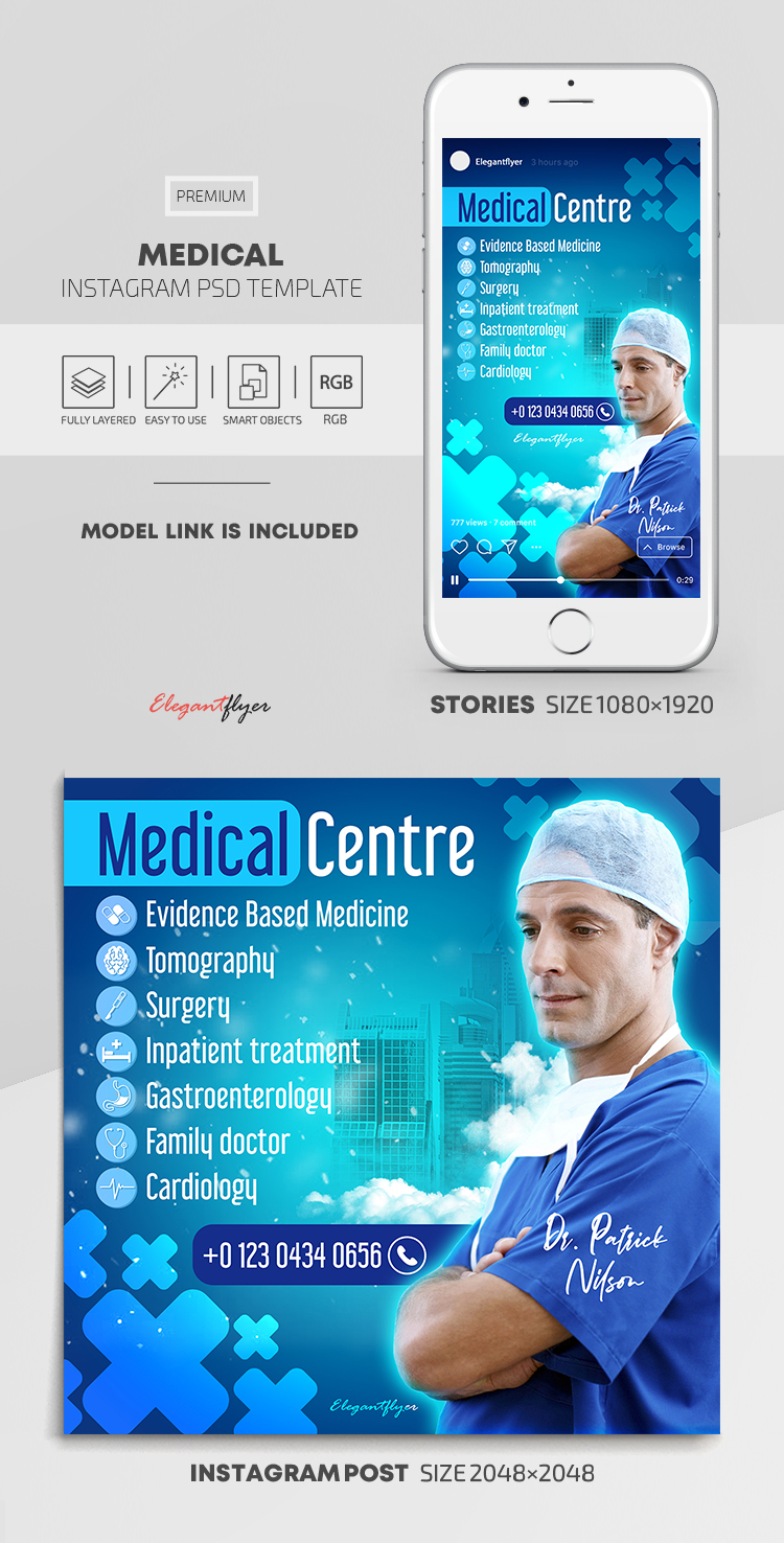 Medical – Instagram Stories Template in PSD + Post Templates