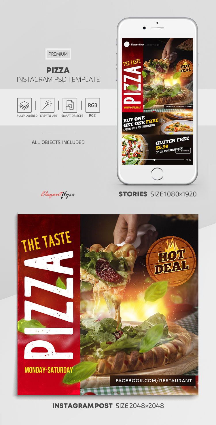Pizza – Instagram Stories Template in PSD + Post Templates