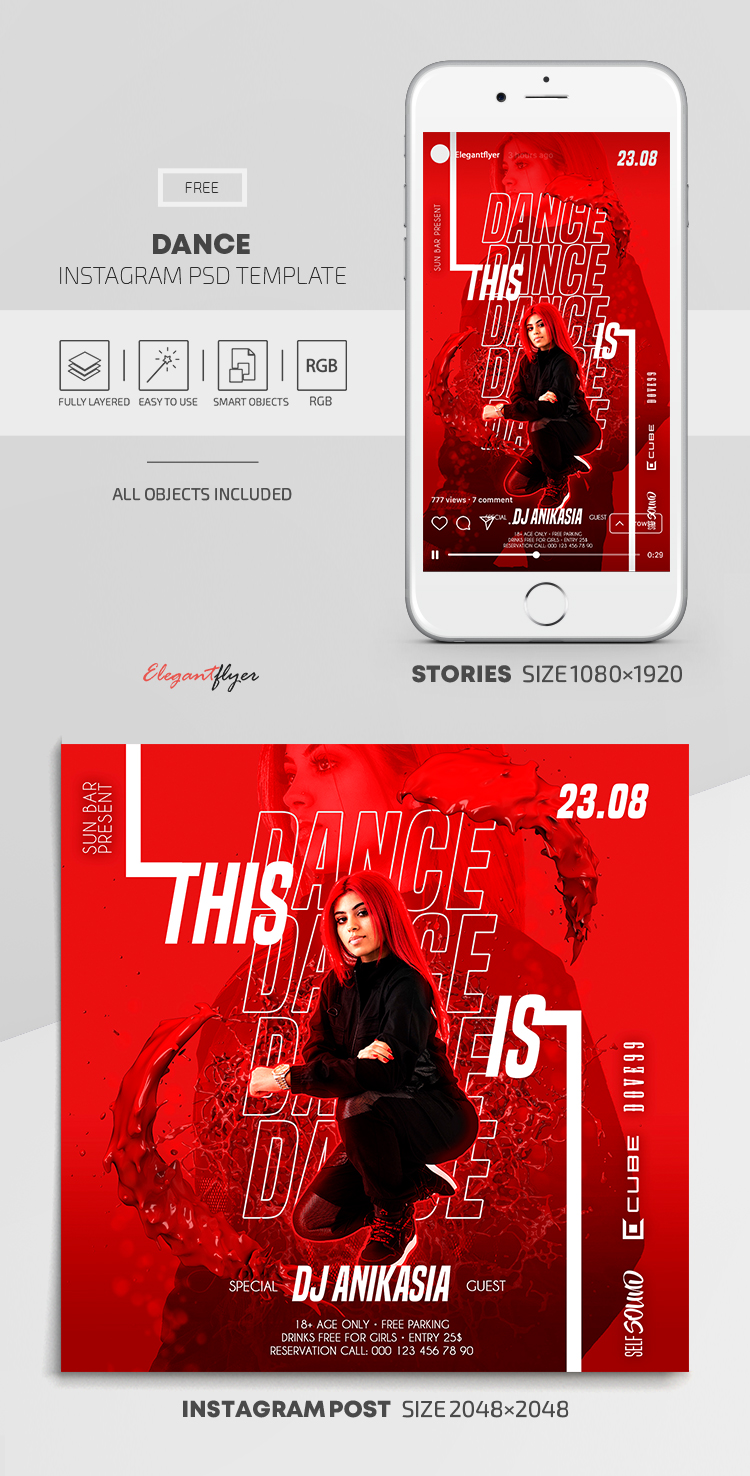 Dance – Free Instagram Stories Template in PSD + Post Templates
