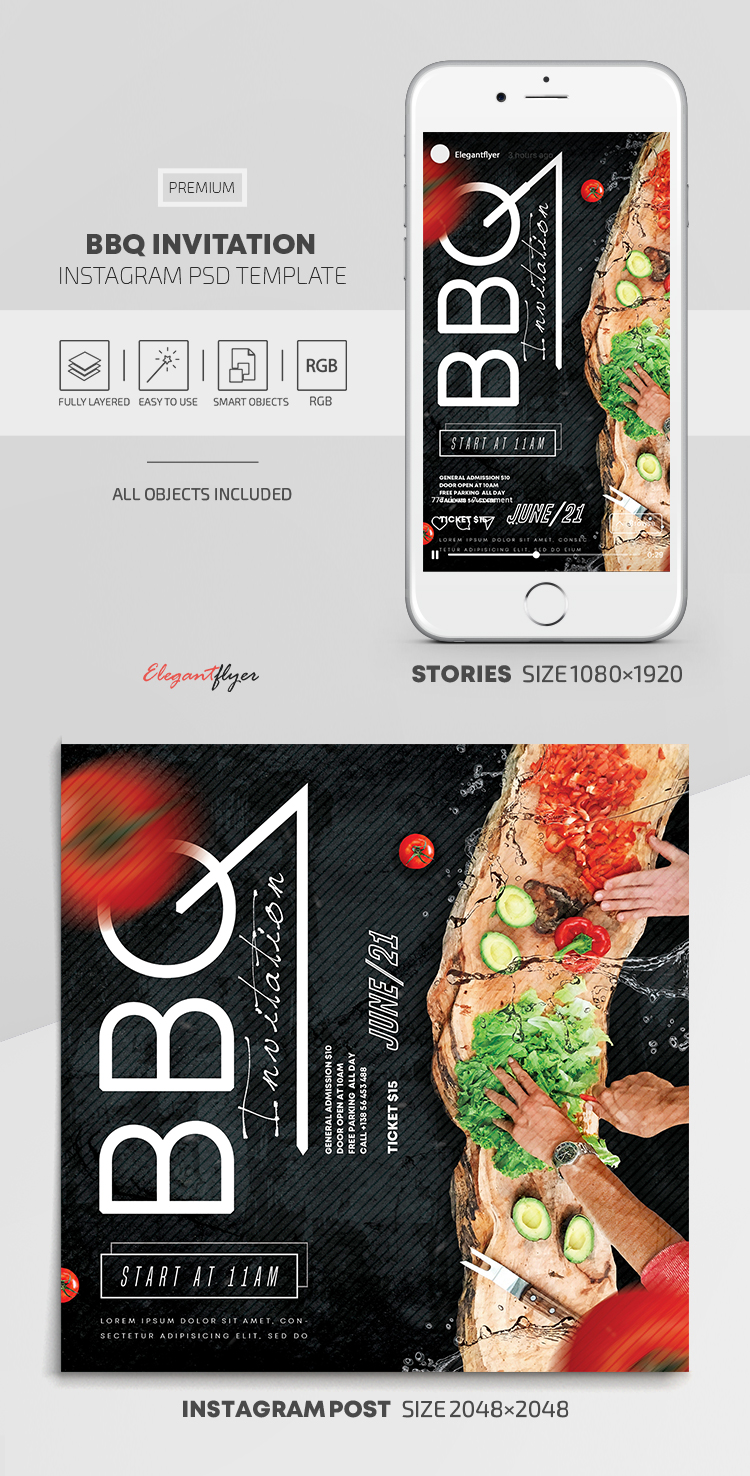 BBQ Invitation – Instagram Stories Template in PSD + Post Templates