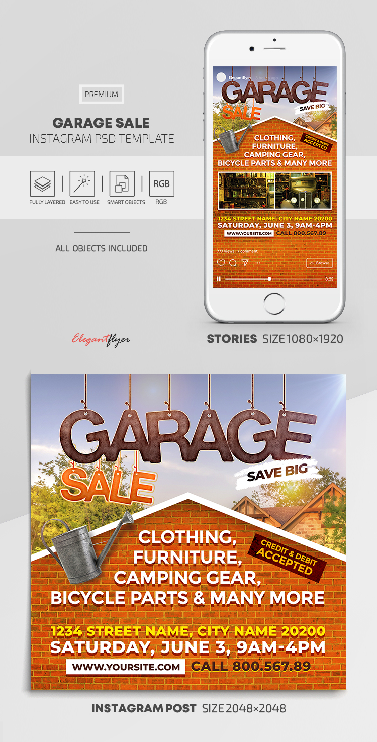 Garage Sale – Instagram Stories Template in PSD + Post Templates