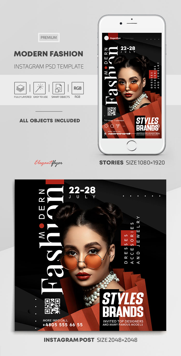 Modern Fashion – Instagram Stories Template in PSD + Post Templates
