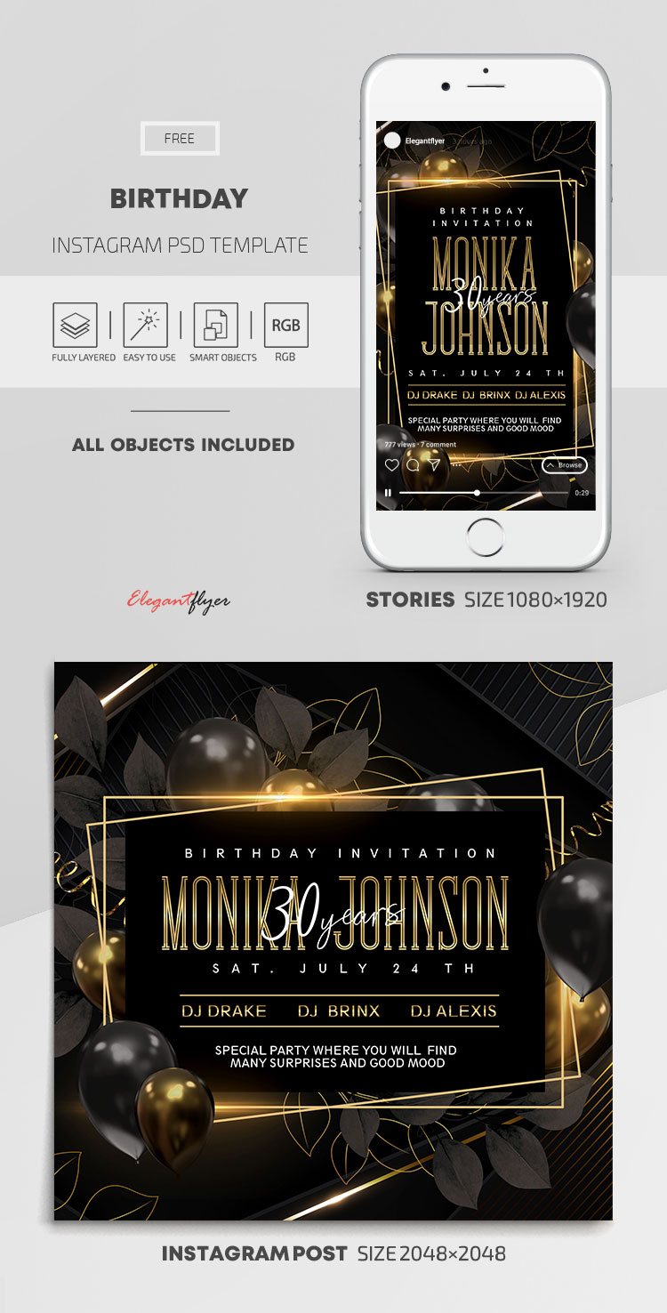 Birthday – Free Instagram Stories Template in PSD + Post Templates