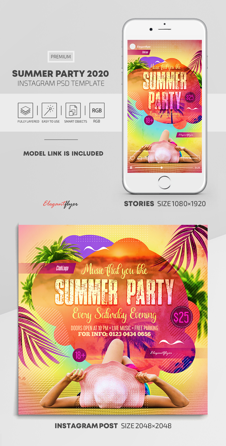 Summer Party 2020 – Instagram Stories Template in PSD + Post Templates