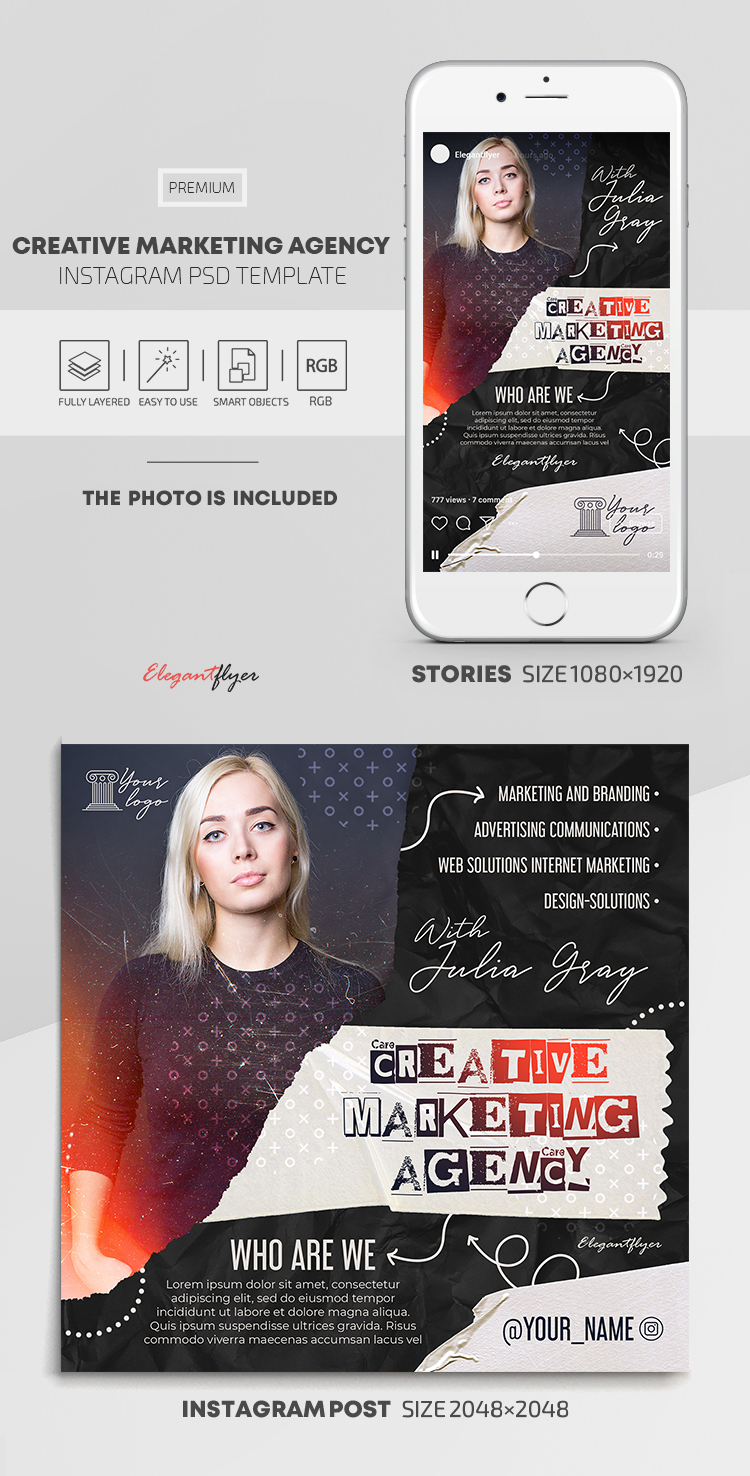 Creative Marketing Agency – Instagram Stories Template in PSD + Post Templates