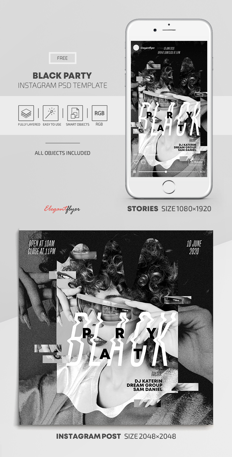Black Party – Free Instagram Stories Template in PSD + Post Templates