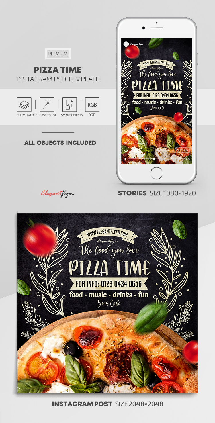 Pizza Time – Instagram Stories Template in PSD + Post Templates