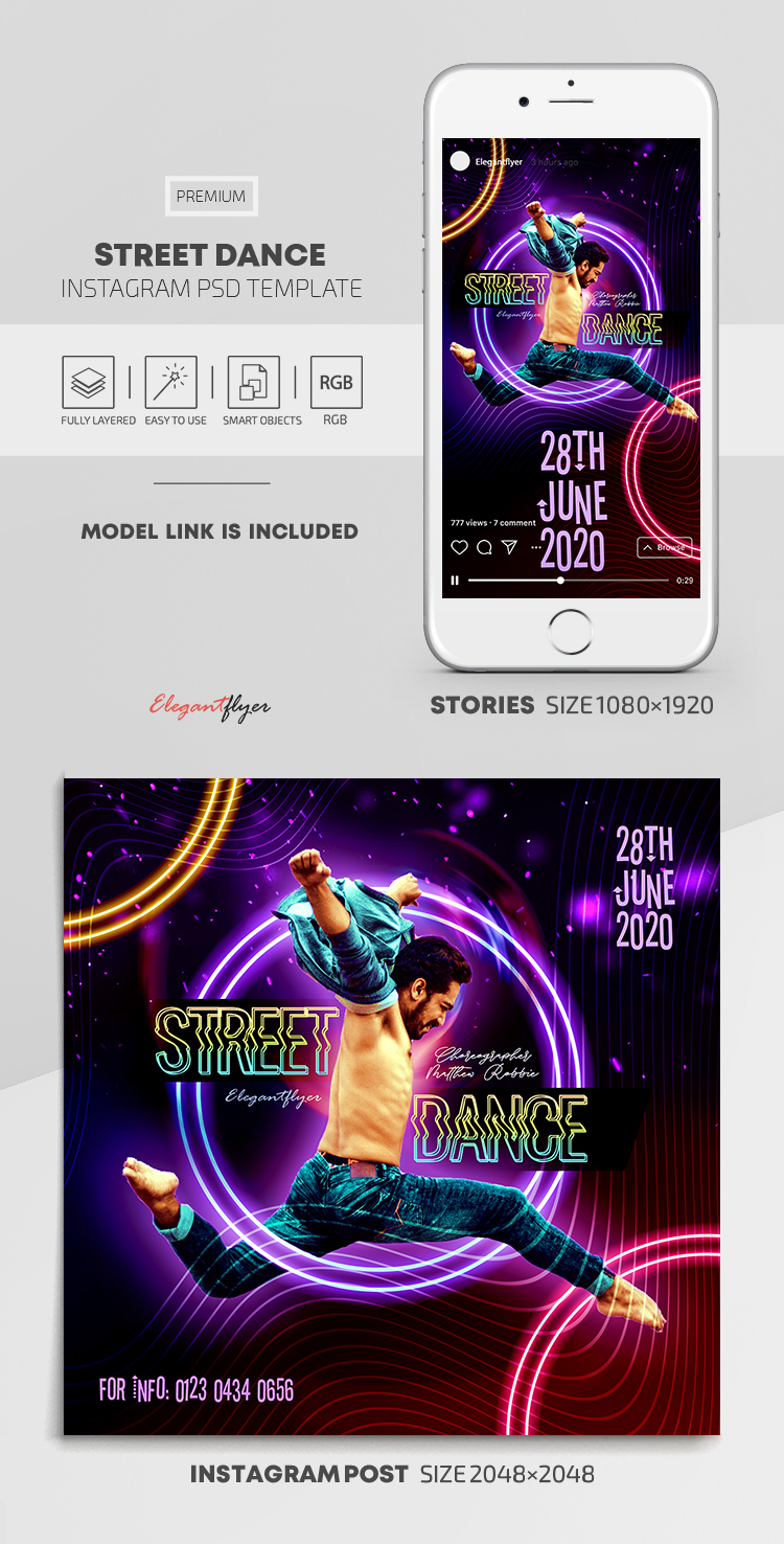 Street Dance – Instagram Stories Template in PSD + Post Templates