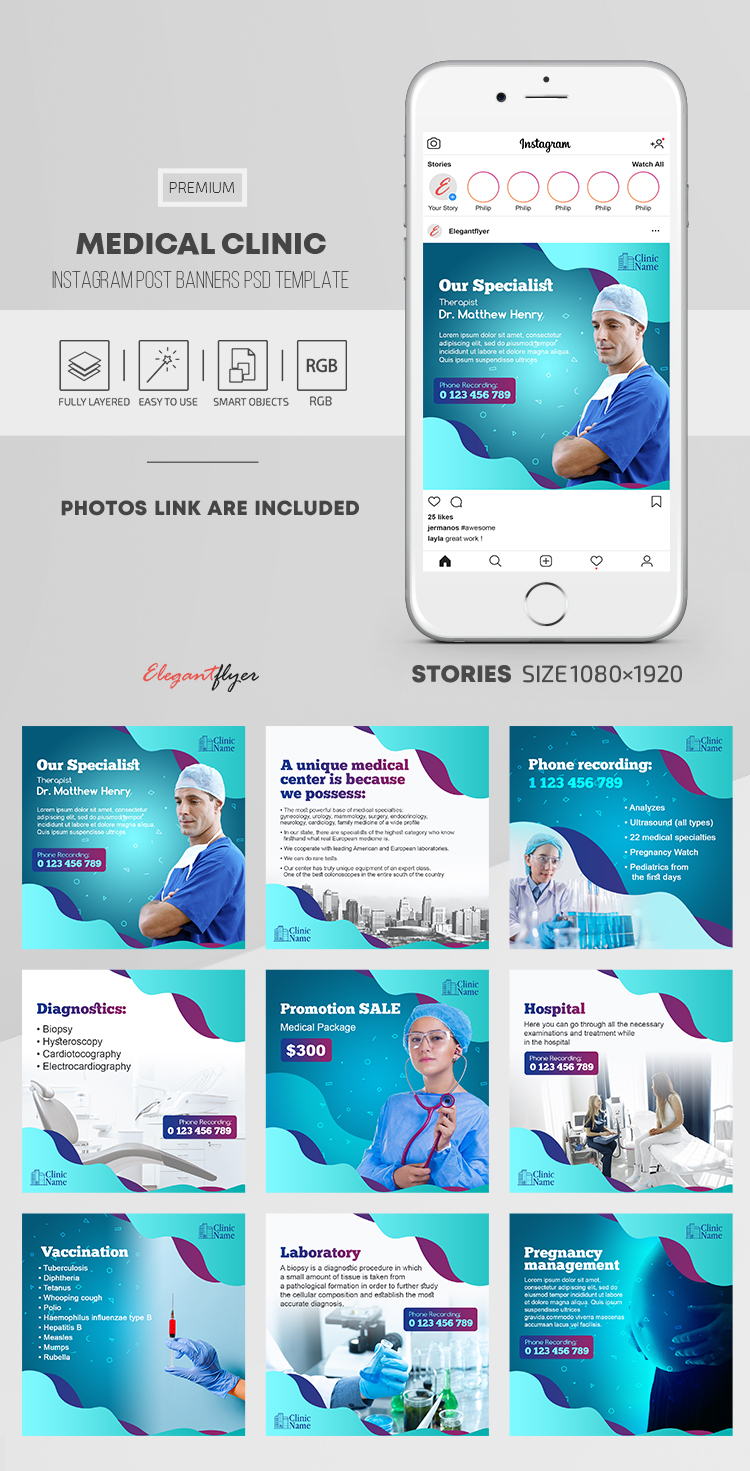 Medical Clinic – Instagram Post Banners PSD Template