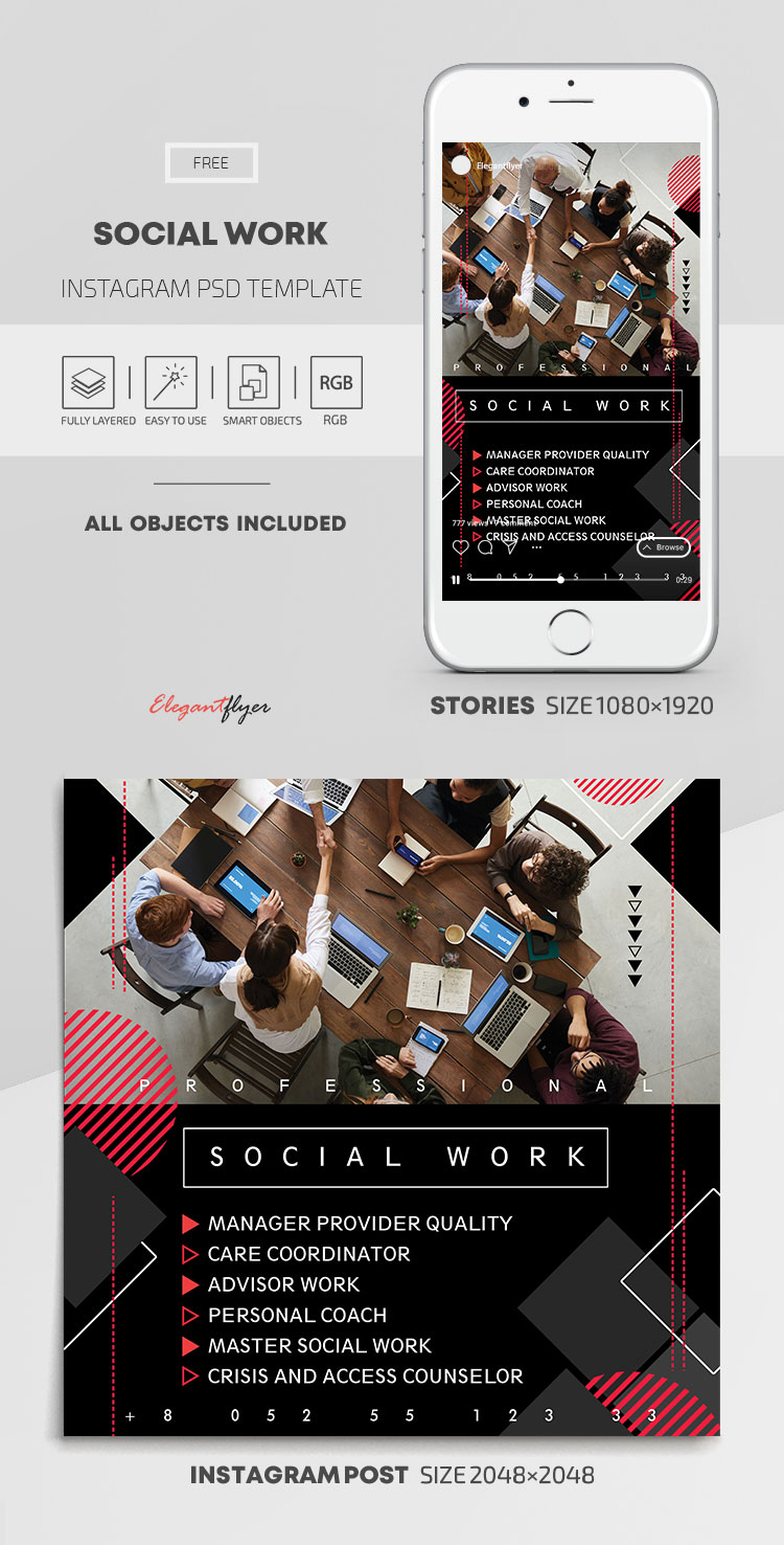 Social Work – Free Instagram Stories Template in PSD + Post Templates