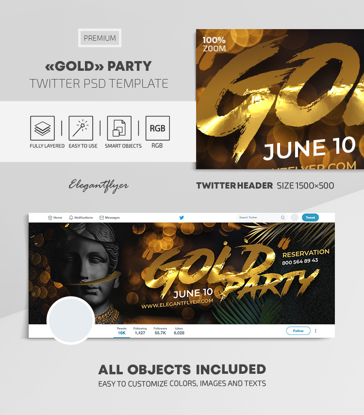 Gold Party – Twitter Header PSD Template