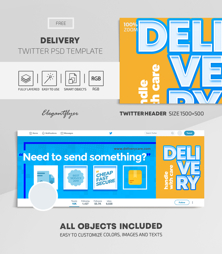Delivery – Free Twitter Header PSD Template