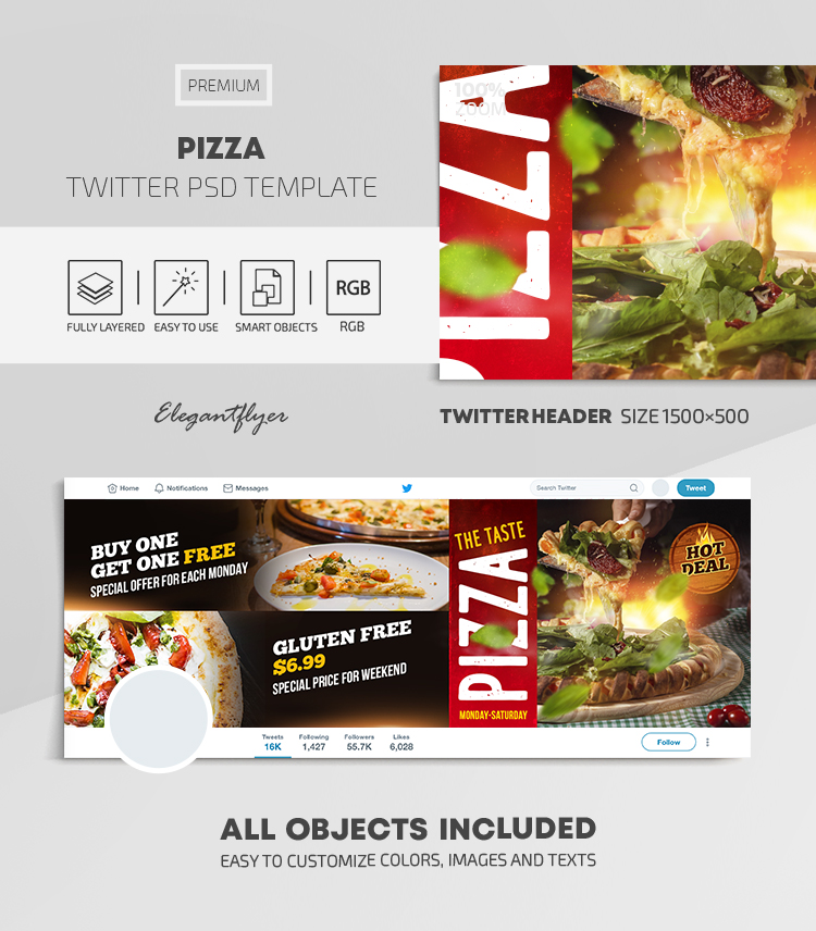Pizza – Twitter Header PSD Template