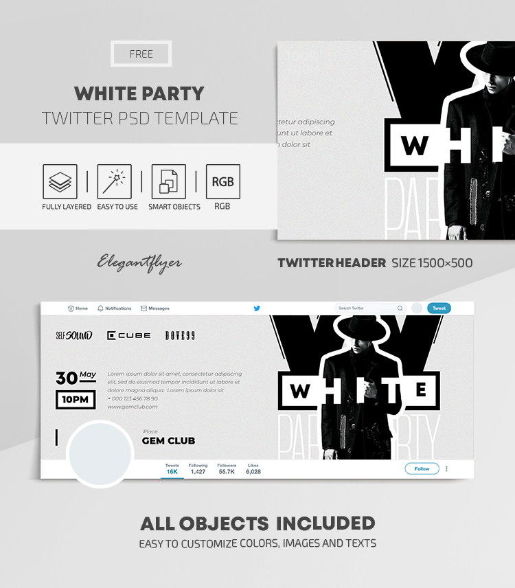 White Party – Free Twitter Header PSD Template