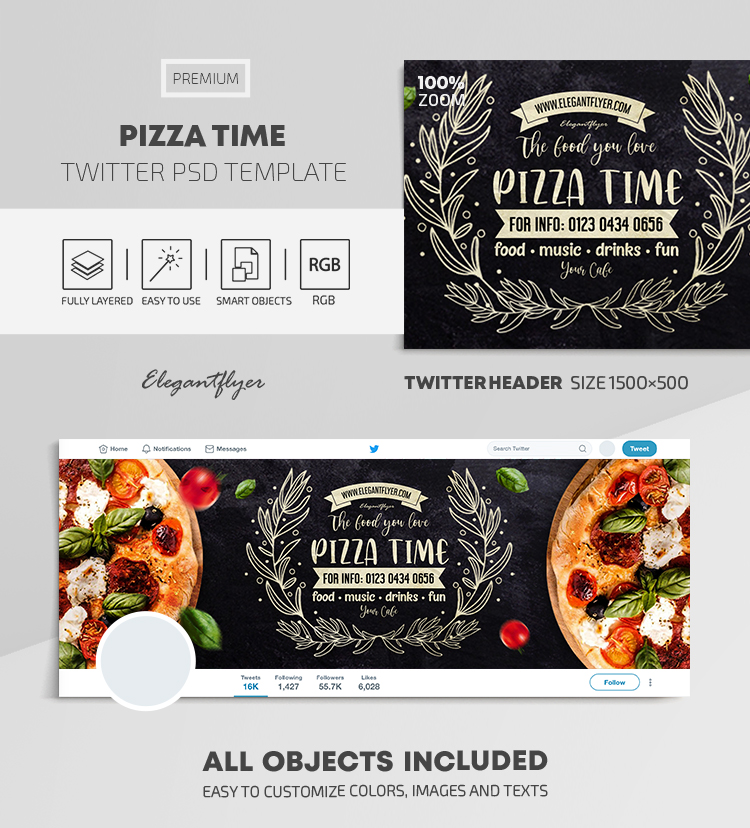 Pizza Time – Twitter Header PSD Template