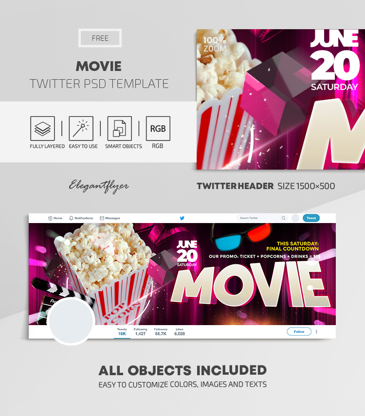 Movie – Free Twitter Header PSD Template