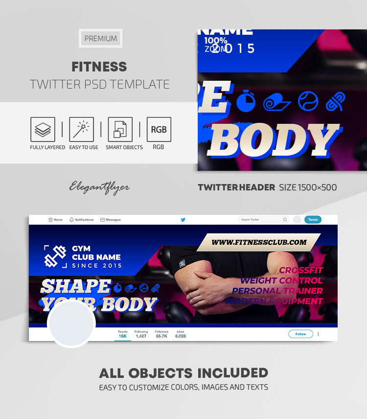 Fitness – Twitter Header PSD Template