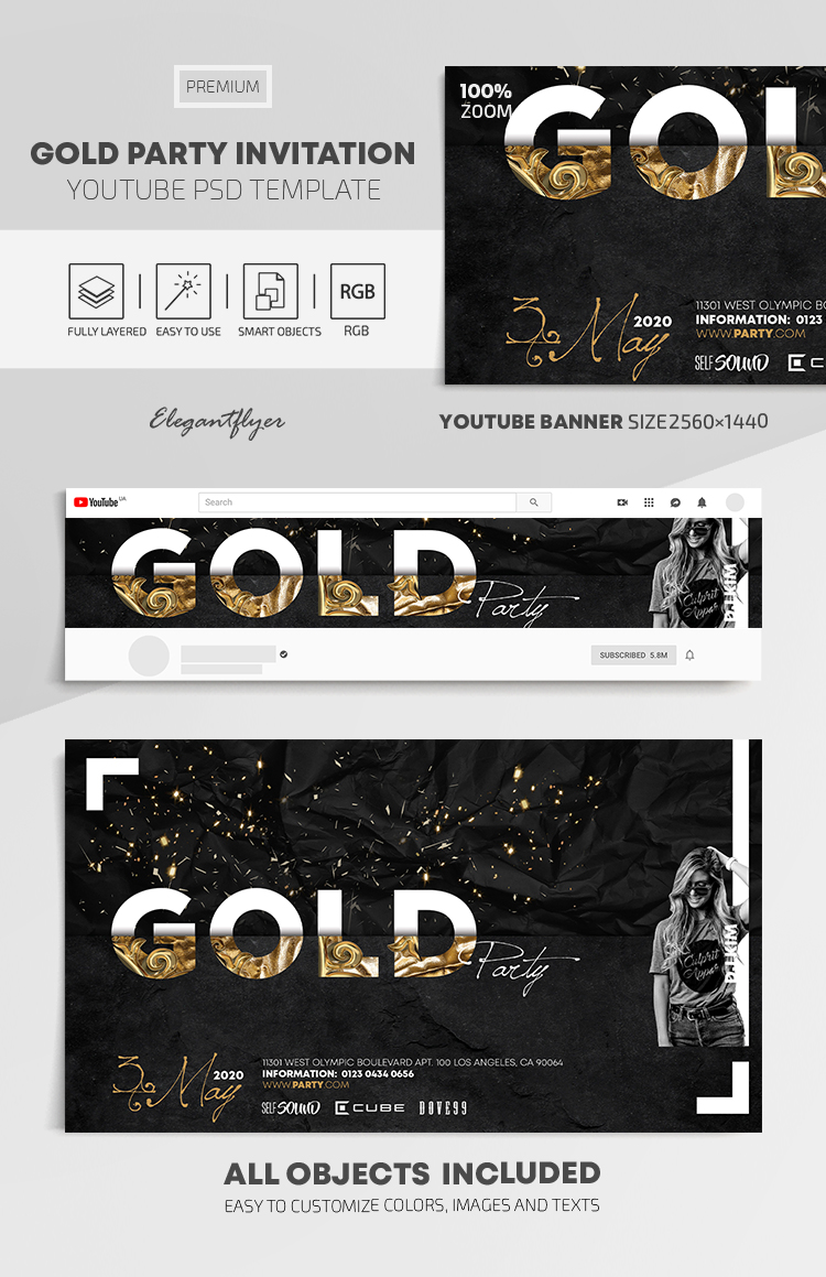 Gold Party Invitation – Youtube Channel Banner PSD Template