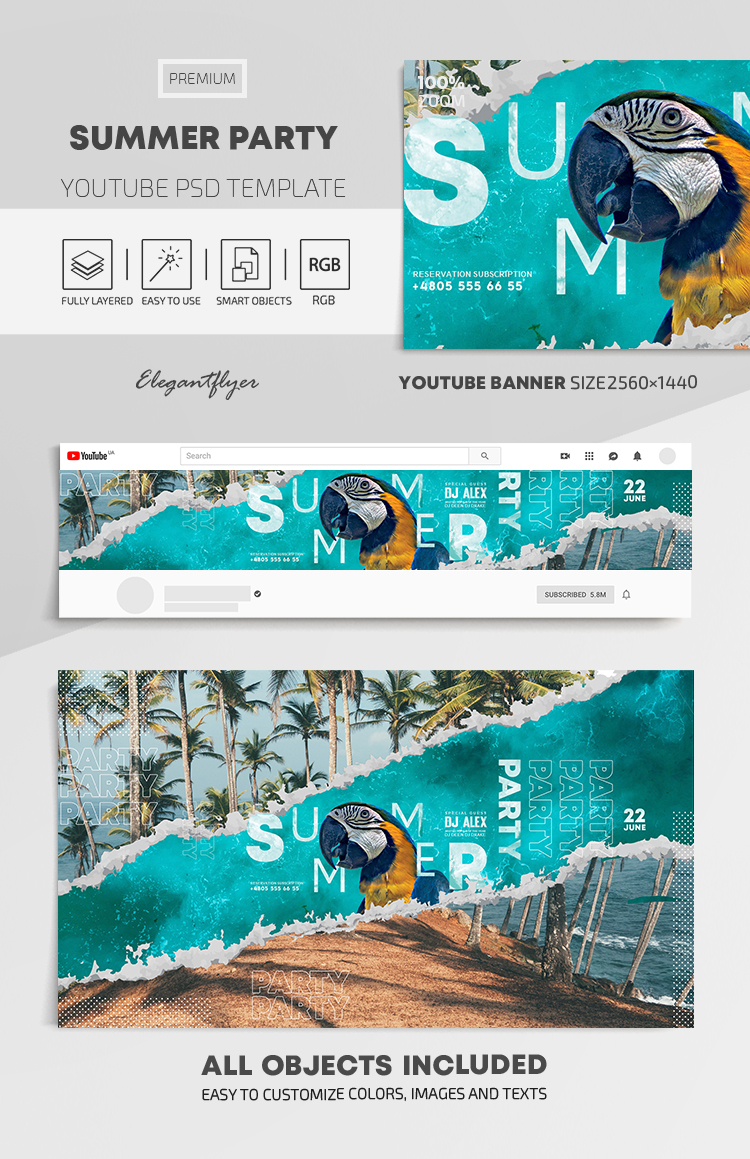 Summer Party – Youtube Channel banner PSD Template