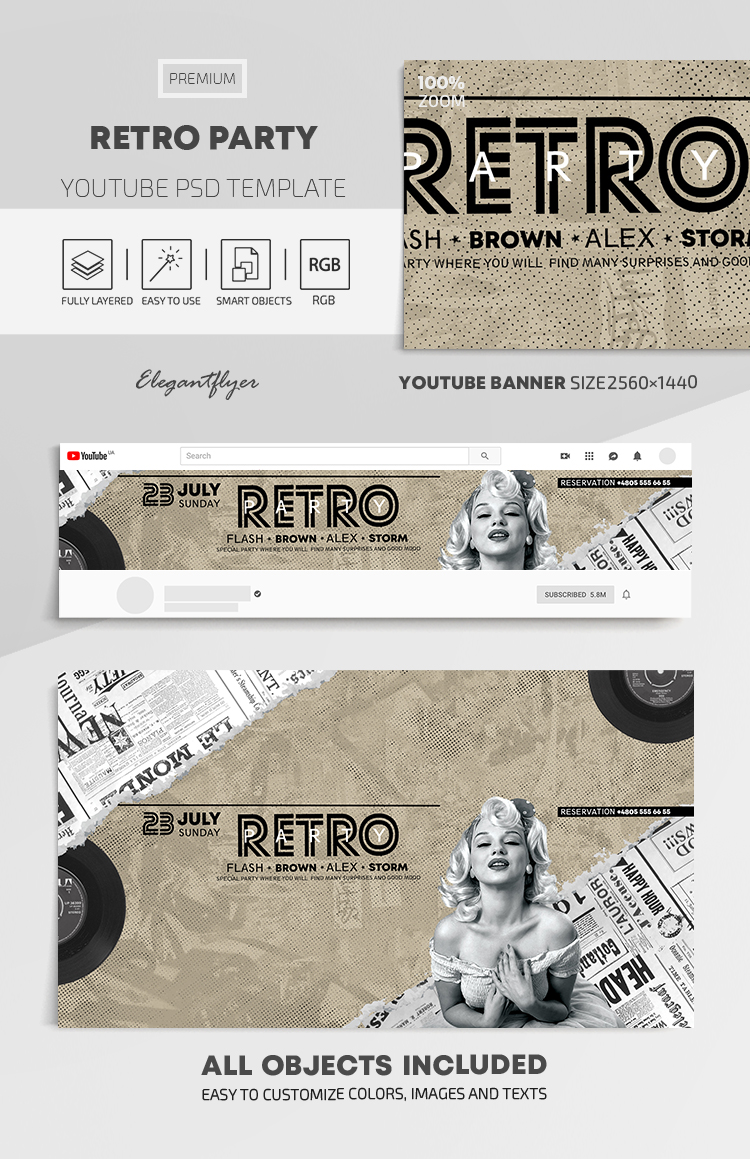 Retro Party – Youtube Channel banner PSD Template