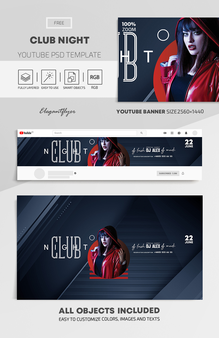 Club Night – Free Youtube Channel banner PSD Template