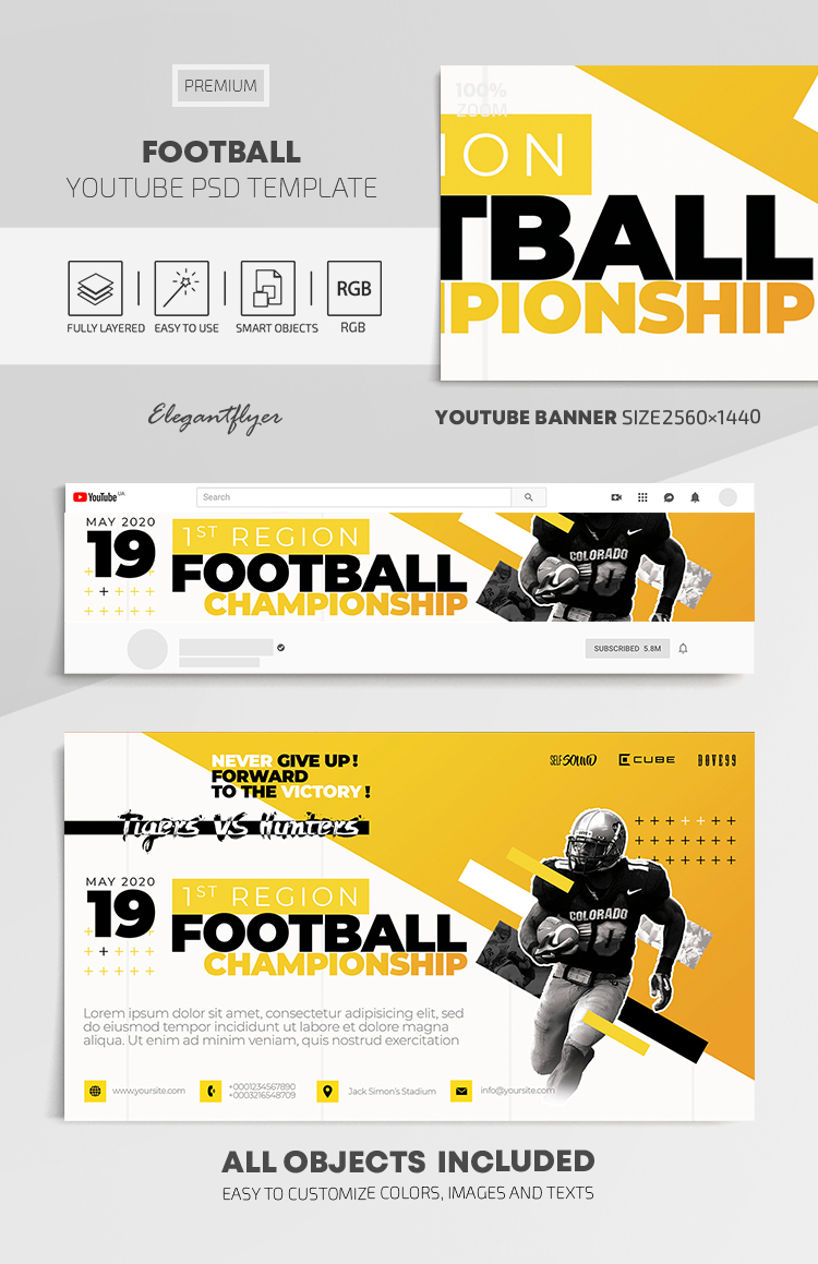 Football – Youtube Channel banner PSD Template