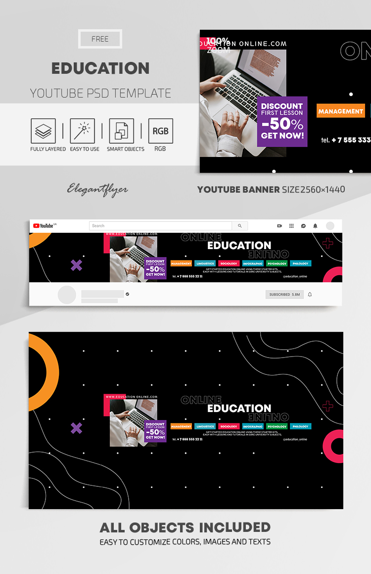 Education – Free Youtube Channel banner PSD Template