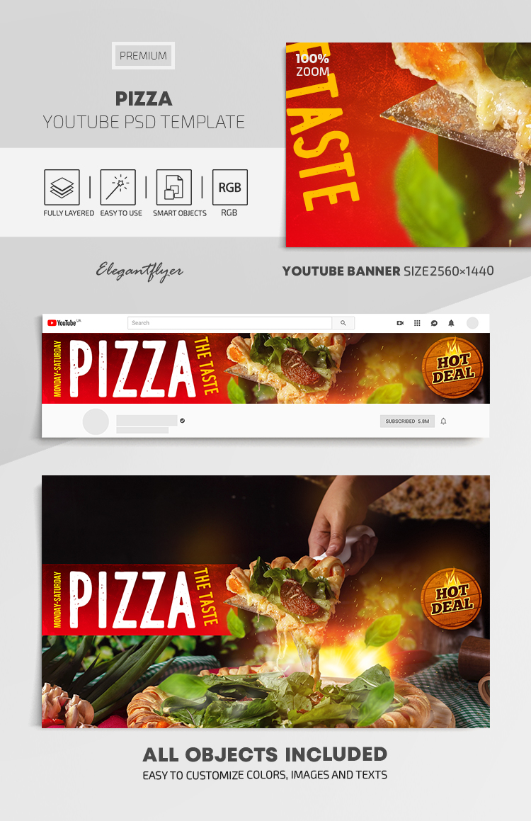 Pizza – Youtube Channel banner PSD Template