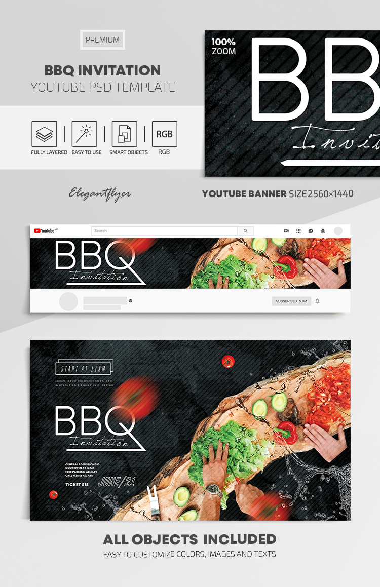 BBQ Invitation – Youtube Channel banner PSD Template