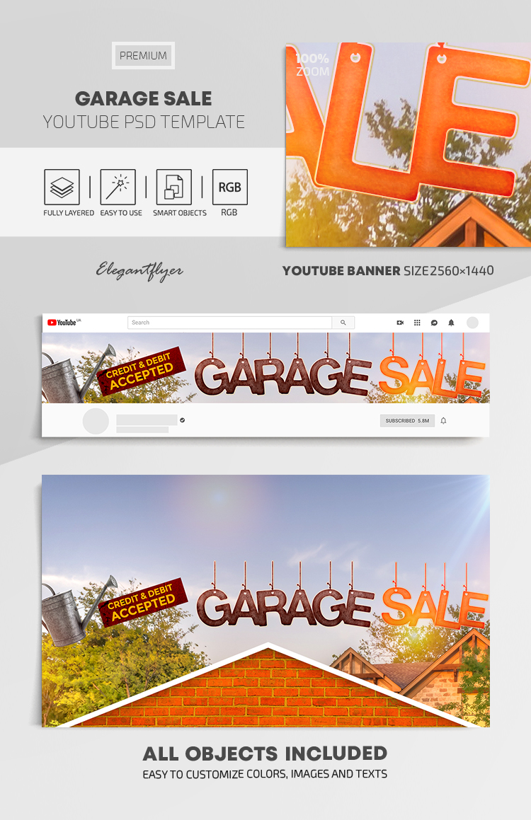 Garage Sale – Youtube Channel banner PSD Template