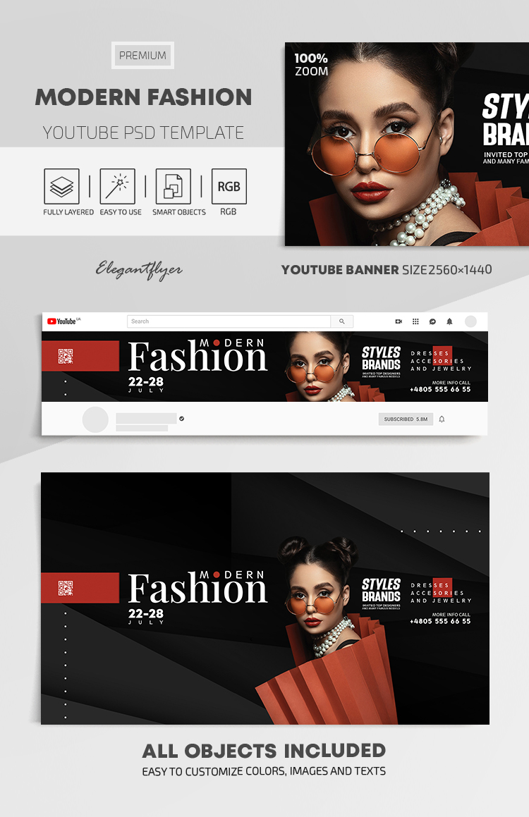 Modern Fashion – Youtube Channel banner PSD Template