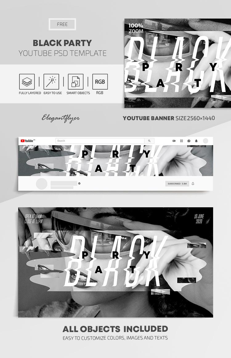 Black Party – Free Youtube Channel banner PSD Template
