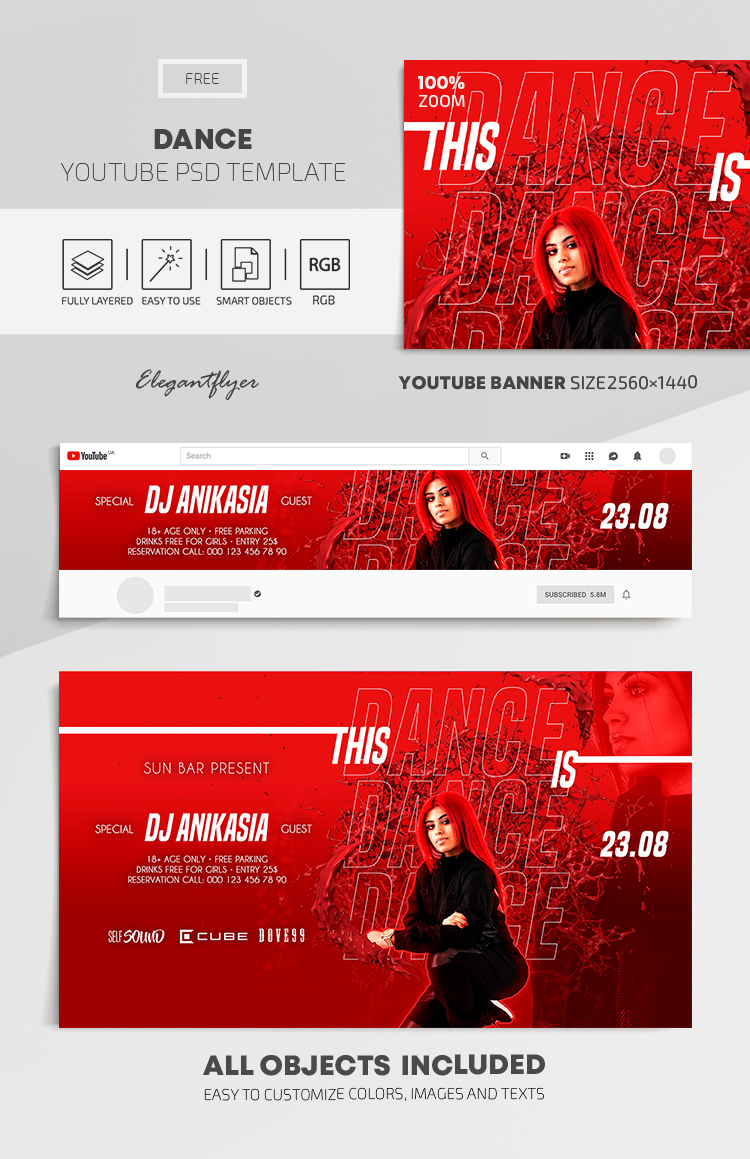 Dance – Free Youtube Channel banner PSD Template