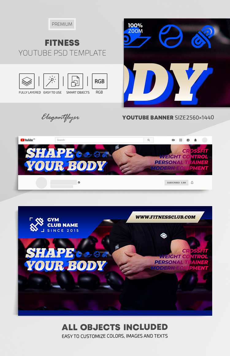 Fitness – Youtube Channel banner PSD Template