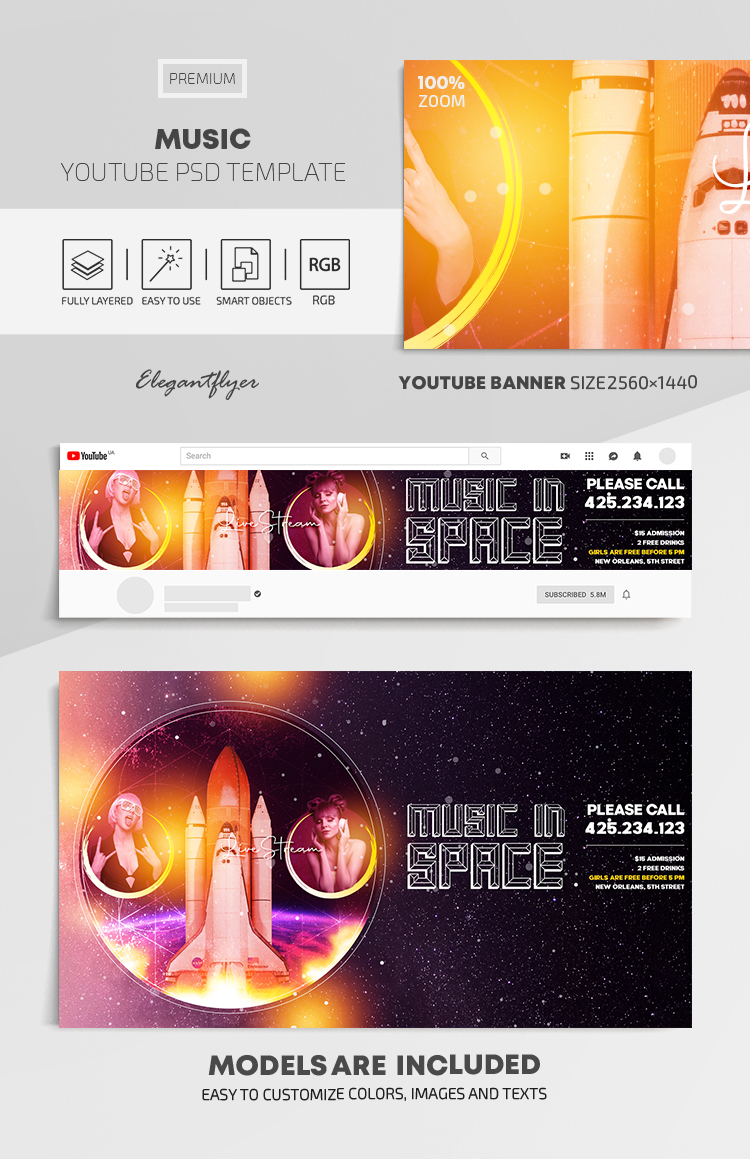 Music – Youtube Channel banner PSD Template