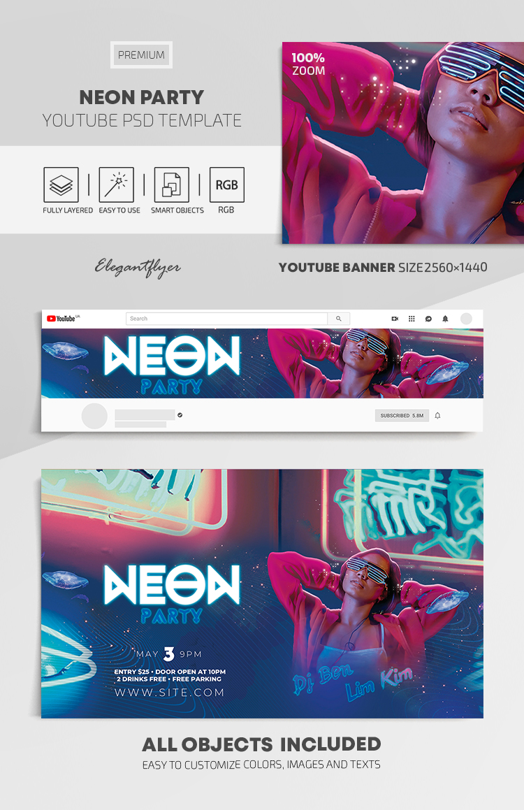 Neon Party – Youtube Channel banner PSD Template
