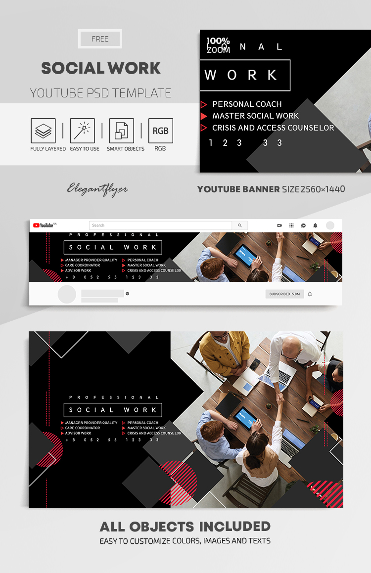 Social Work – Free Youtube Channel banner PSD Template