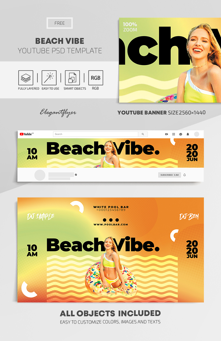 Beach Vibe – Free Youtube Channel banner PSD Template
