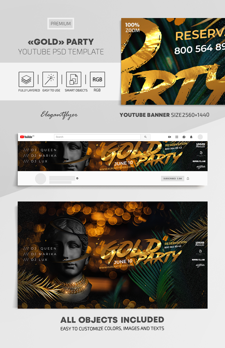 Gold Party – Youtube Channel banner PSD Template