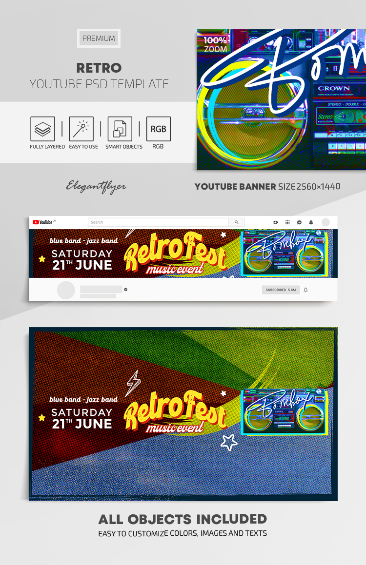 Retro – Youtube Channel Banner PSD Template