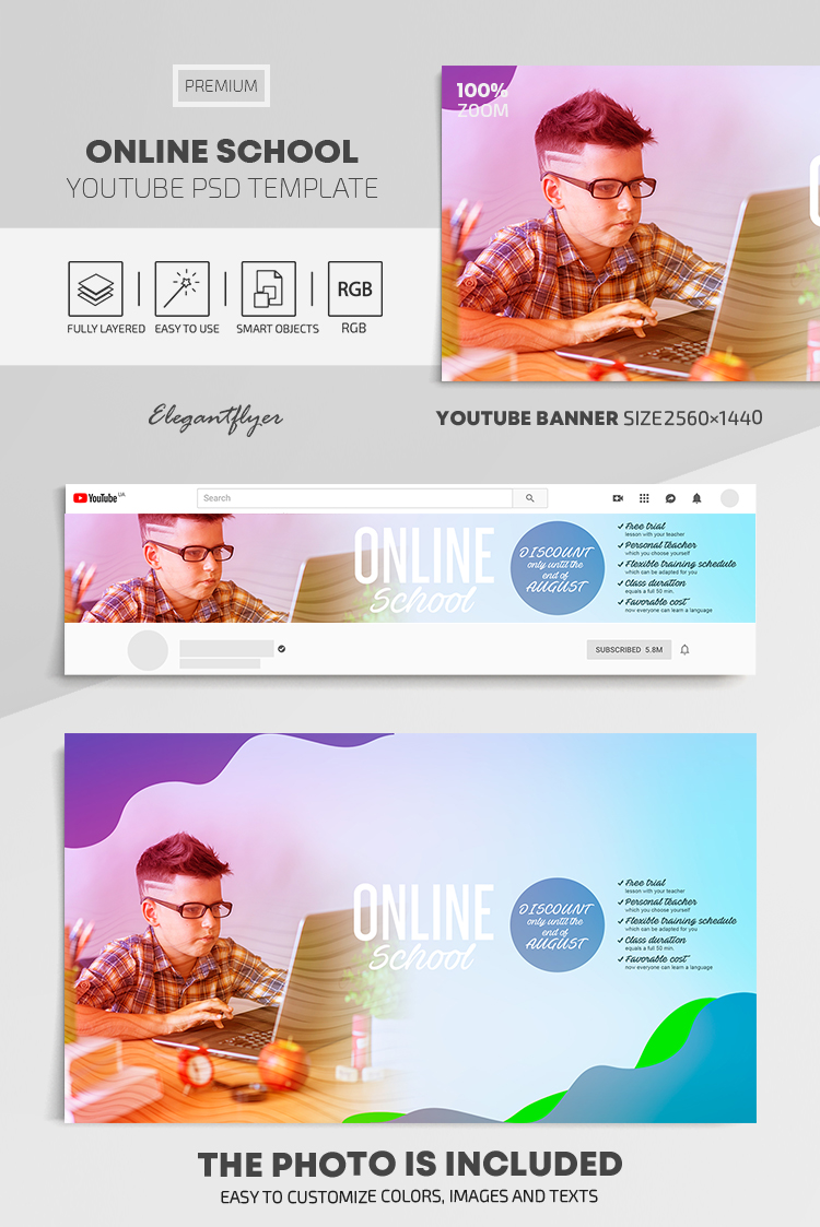 Online School – Youtube Channel banner PSD Template
