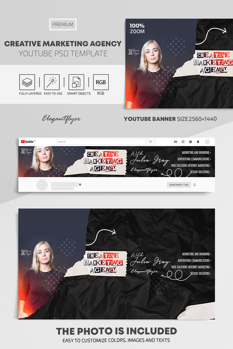 Creative Marketing Agency – Youtube Channel banner PSD Template