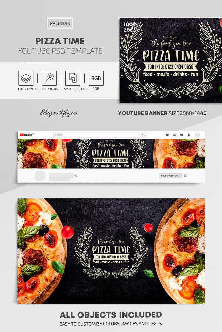 Pizza Time – Youtube Channel banner PSD Template