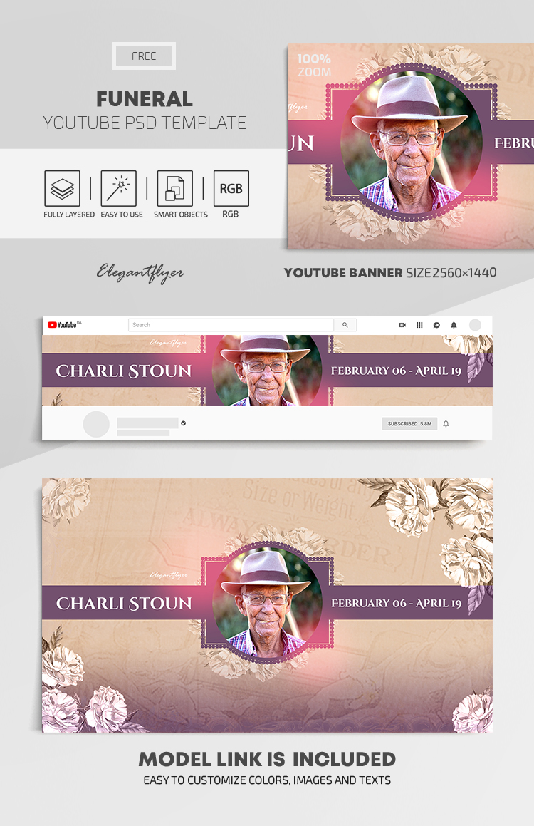 Funeral – Free Youtube Channel banner PSD Template