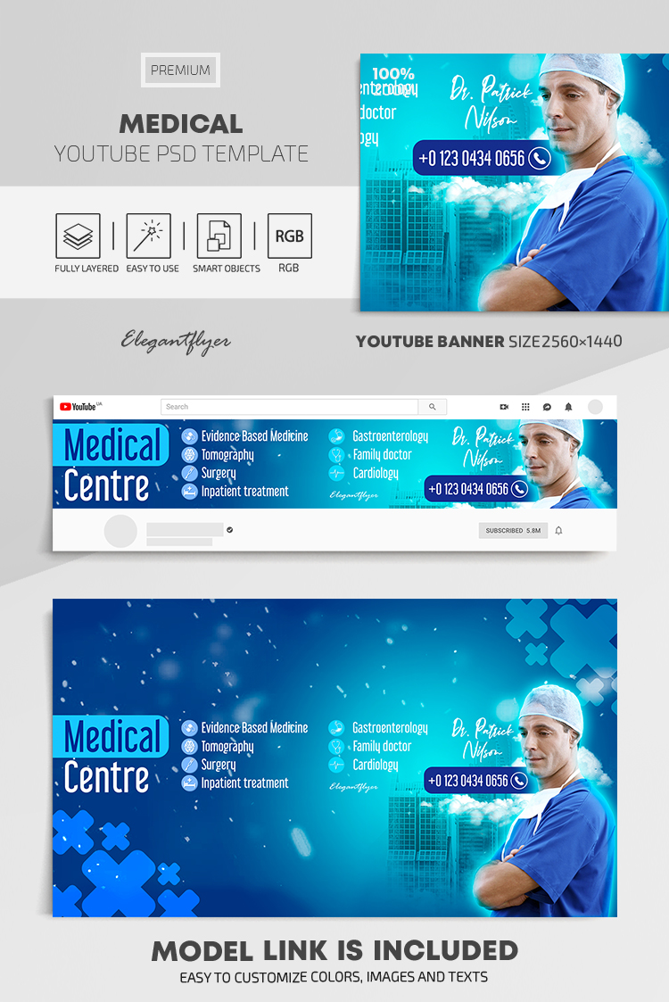 Medical – Youtube Channel banner PSD Template